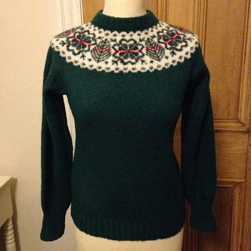 Vintage bottle green fairisle jumper - size Small - £28 #vintage ...