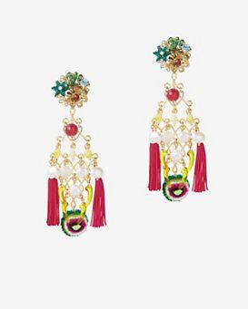 Mercedes Salazar Double Fringe Earrings: Fucshia
