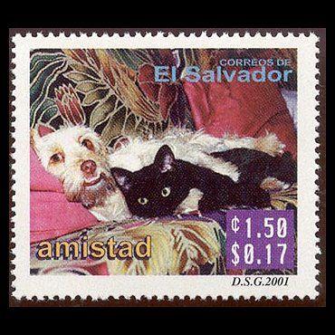 Postage Stamp El Salvador 2001 Postage Stamp Art Cat Stamp Postal Stamps