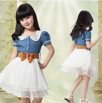 26b0cdd47 Click to Buy << 3-10Y kids dress new 2016 Children clothing 100% cotton  denim dresses for girl party dress baby girls princess dress with belt  #Affiliate