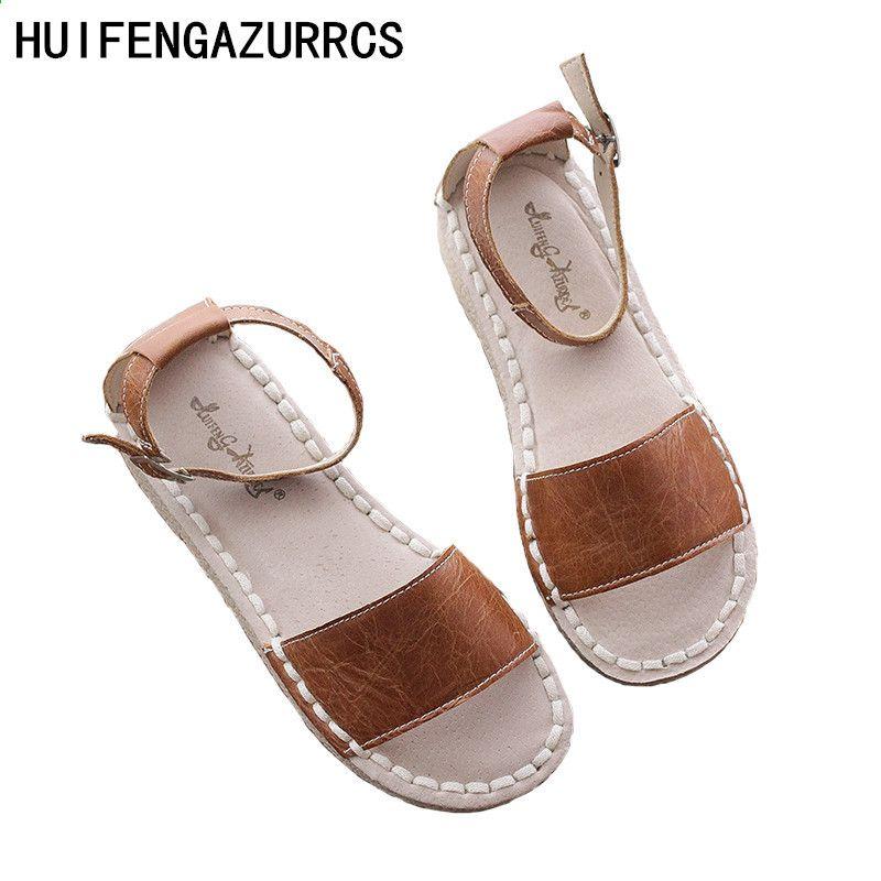 Huifengazurrcs 2018 Letnie Kobiety Prawdziwe Skorzane Sandaly Art Retro Recznie Robione Mori Dziewczyny Mieszkania Klamry Buty Na Co Baby Shoes Shoes Fashion