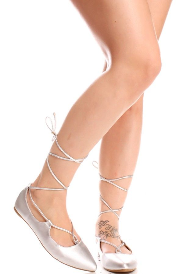 ca171f3c5e0 SILVER LACE UP FAUX LEATHER MATERIAL POINTED TOE STYLE CASUAL FLATS ...