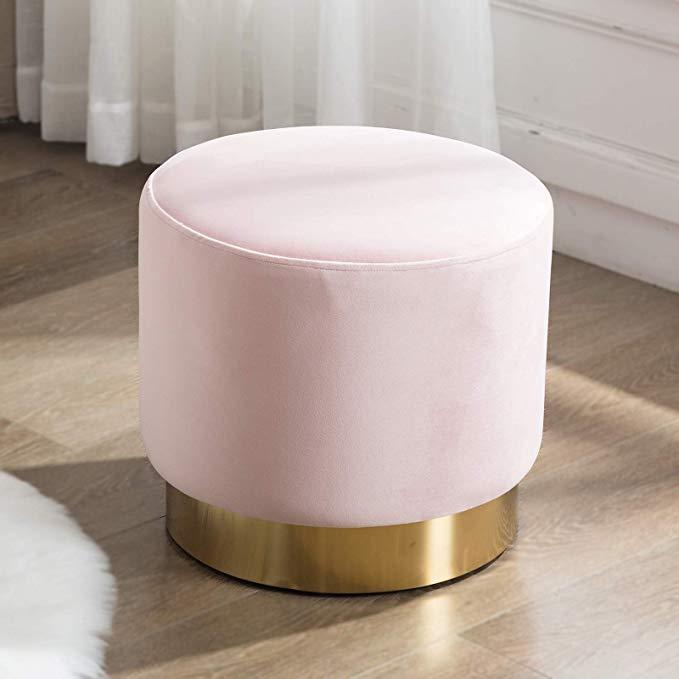 Amazon Com Artechworks Round Velvet Ottoman Upholstered With Gold