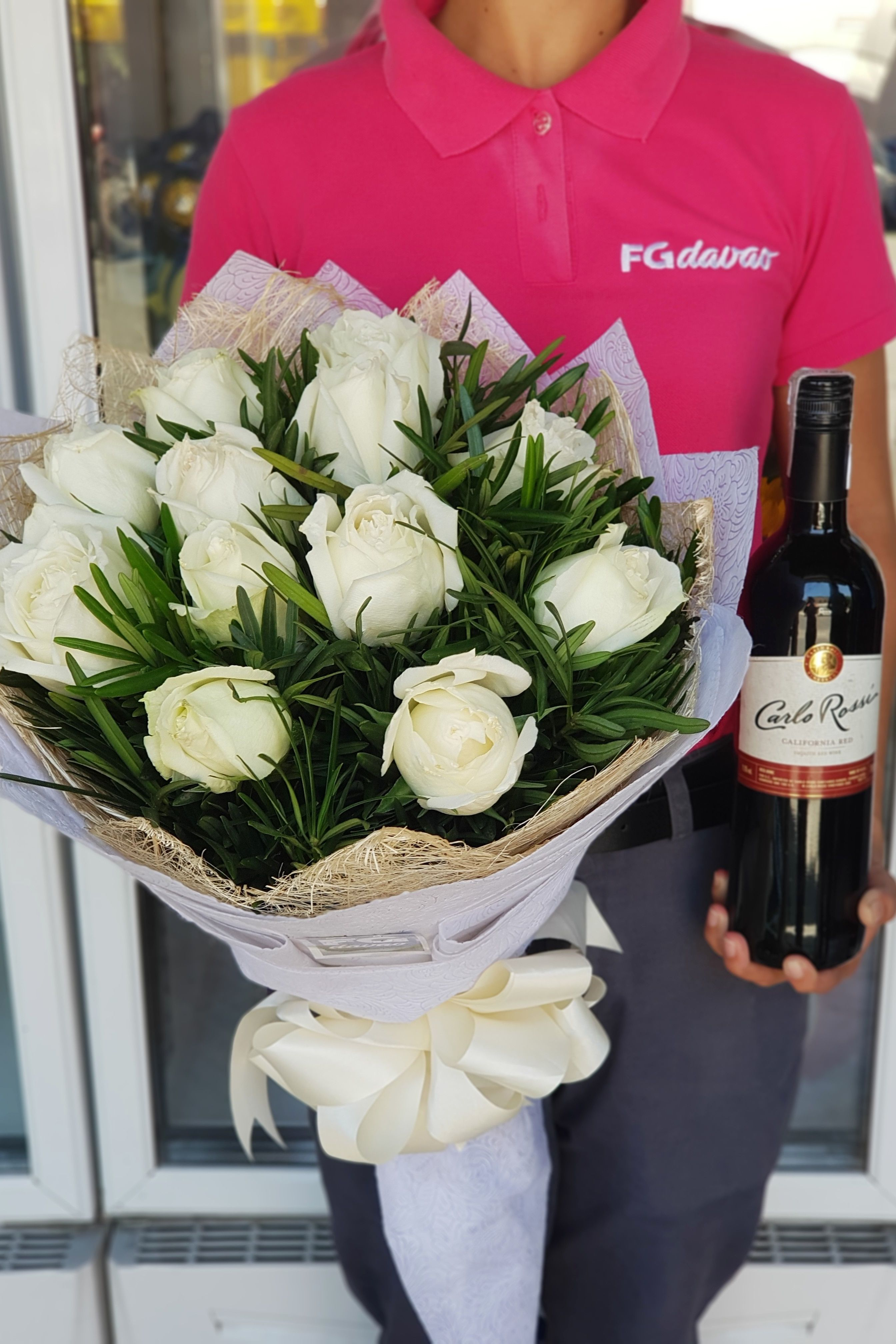 Bouquet of White Roses and Wine Send Flowers Price List