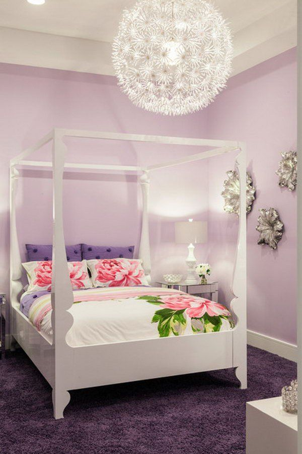 Silver Flowers On The Wall In This Pastel Colored Bedroom And Oversized Pendant Light Really Bring Out Pop