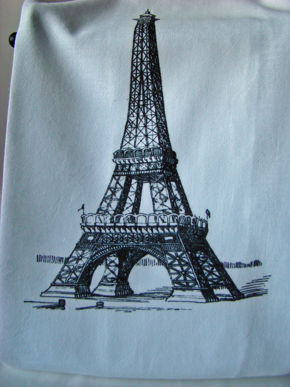 Eiffel Tower tea towel - Flour sack Kitchen towel - Paris theme ...