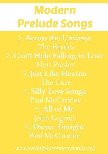 Modern Wedding Prelude Songs Weddingmusic