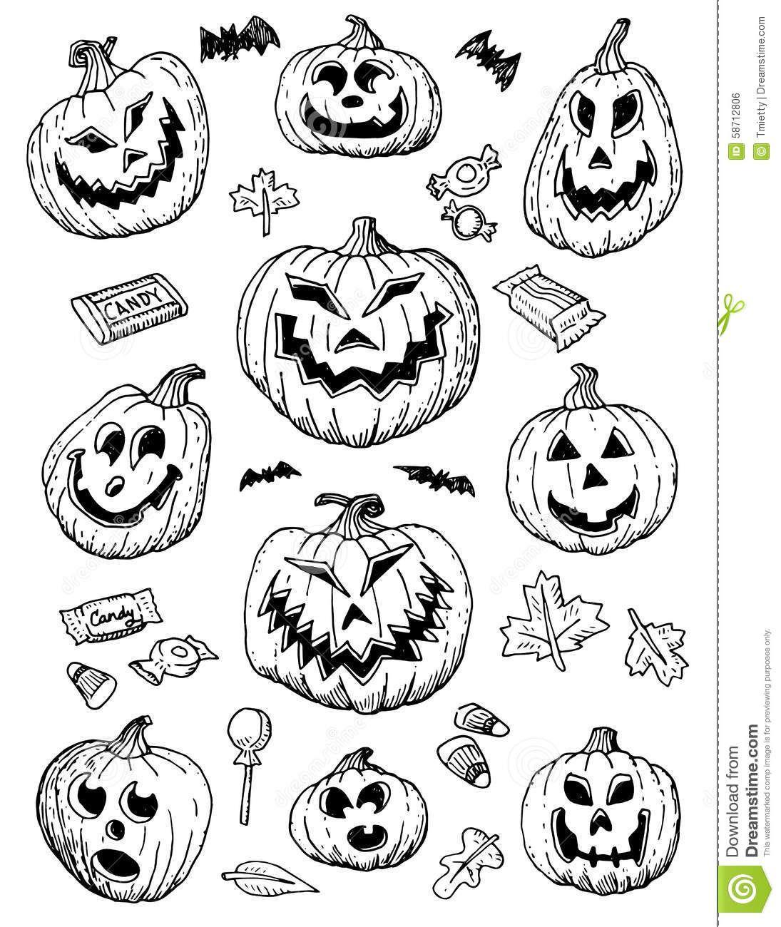 Image result for hand drawn halloween jack o lanterns