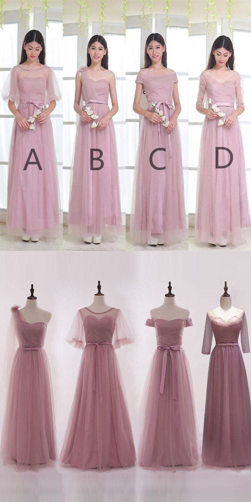 26c2f6505177 Mismatched Elegant Dusty Pink Soft Tulle Long Bridesmaid Dresses, Cheap  Custom Long Bridesmaid Dresses, Affordable Bridesmaid Gowns, BD013