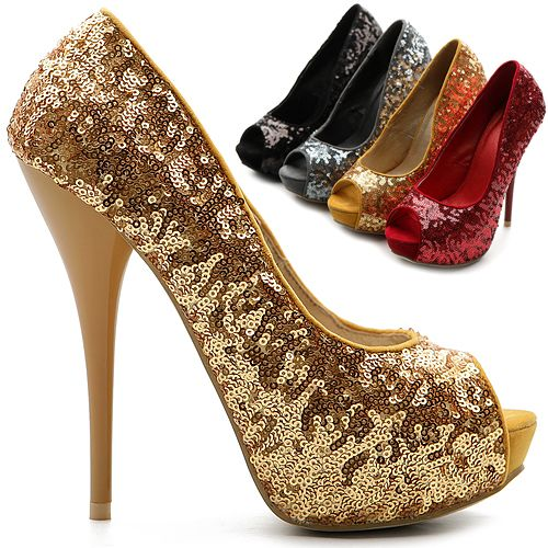 NEW Womens Shoes Glitter Pumps Platforms Open Toes High Heels Stiletto Multi