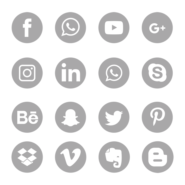 Gray Social Media Icons Set Symbol Social Media Icons