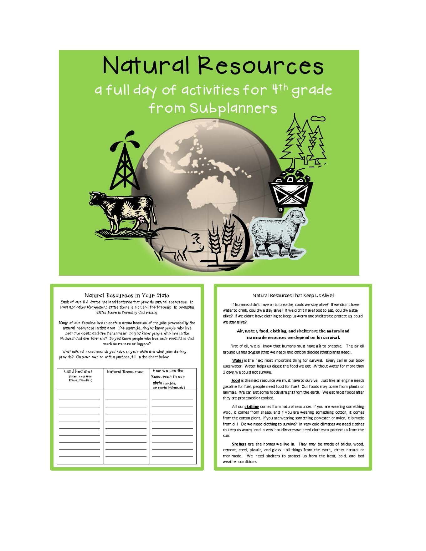 Natural Resources A Full Day Of Activities For 4th Graders