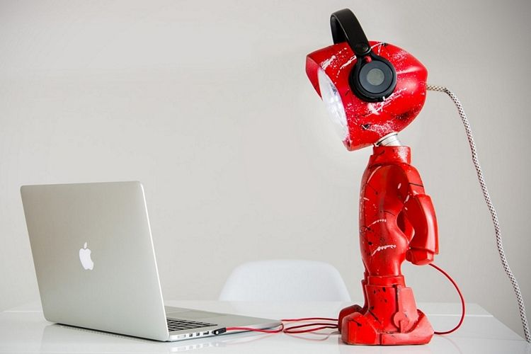 This Robot Headlight Lamp Would Be A Fun Addition For Kid Or S Room Cool Desk