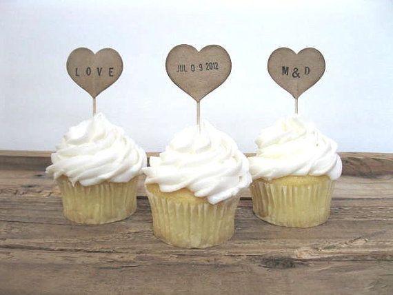 Wedding cupcake toppers 12 kraft personalized heart cupcake picks wedding cupcake toppers 12 kraft personalized heart cupcake picks wedding decor wedding cupcake junglespirit Images