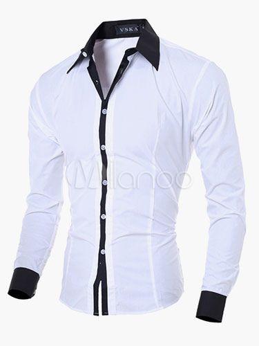 Blanco camisa manga larga de algodón hombres  d49a1a8a7c6