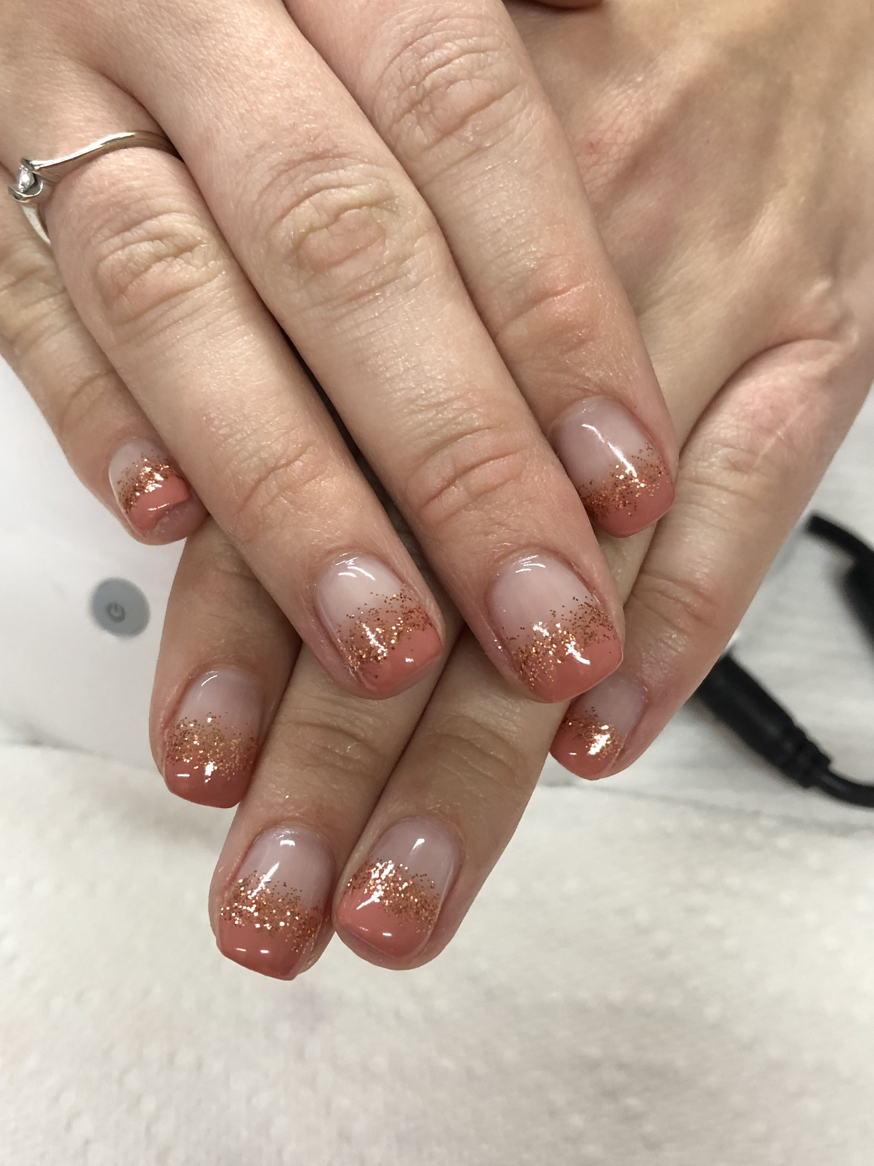Fall Ombre French Glitter Gel Nails Glitter Gel Nails Nails Gel Nail Designs