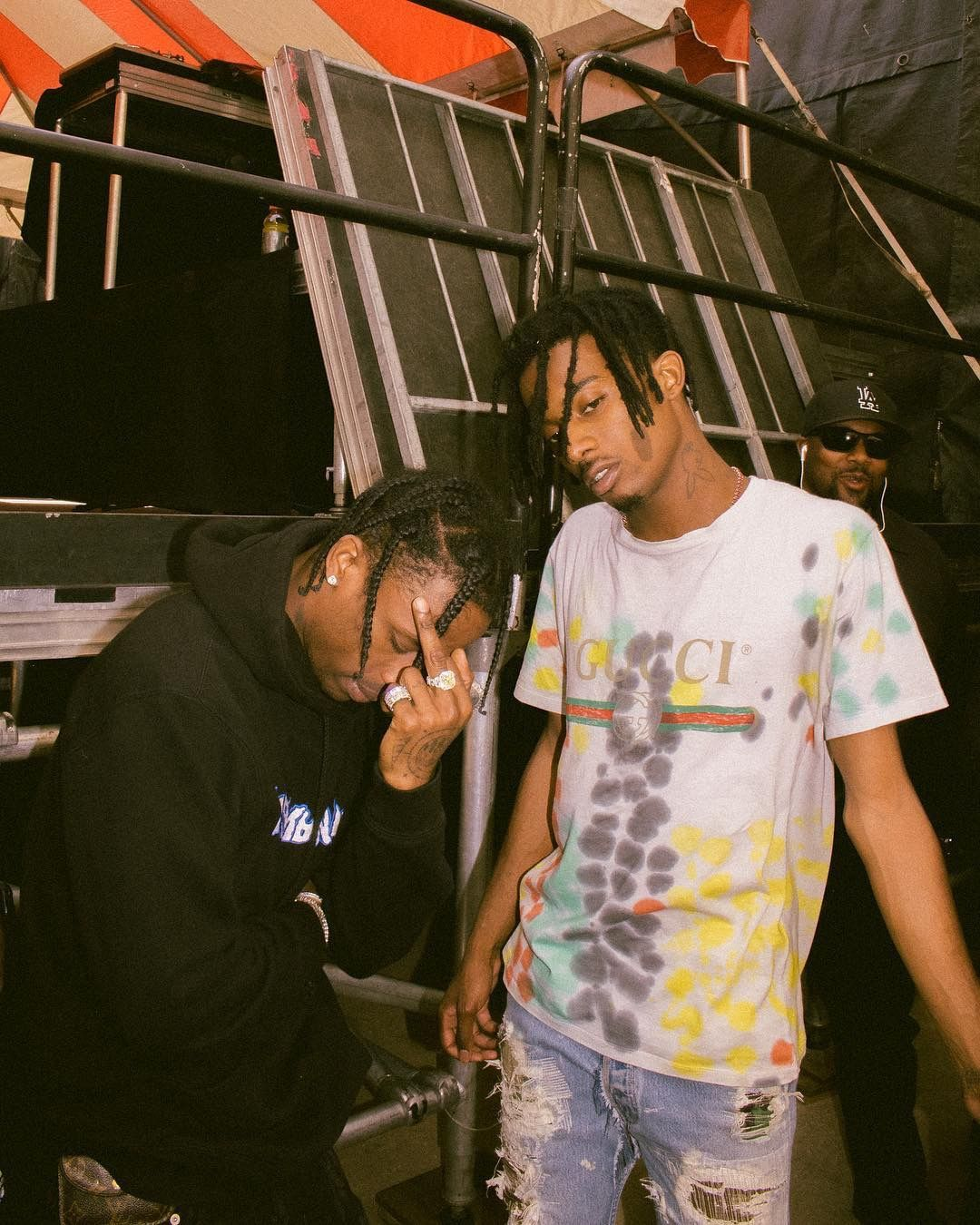 travis scott hangs with playboi carti wearing his new richie rich