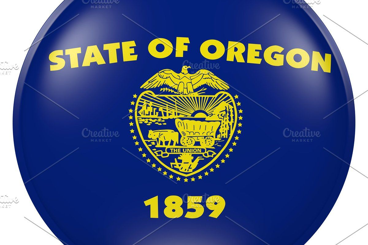 Oregon State Flag Button Sponsored Paid State Flag Rendering Oregon