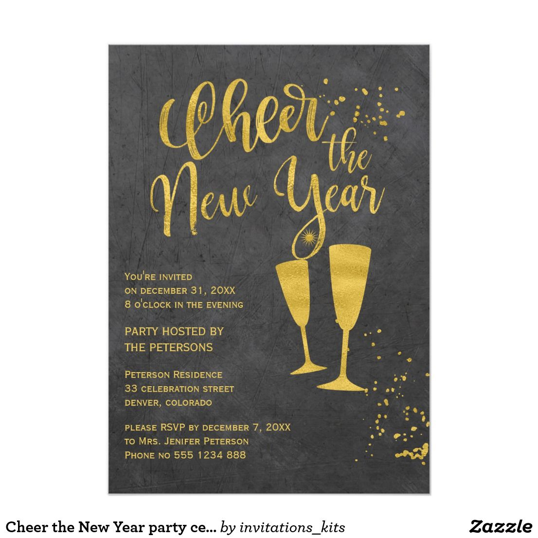 cheer the new year party celebration invite