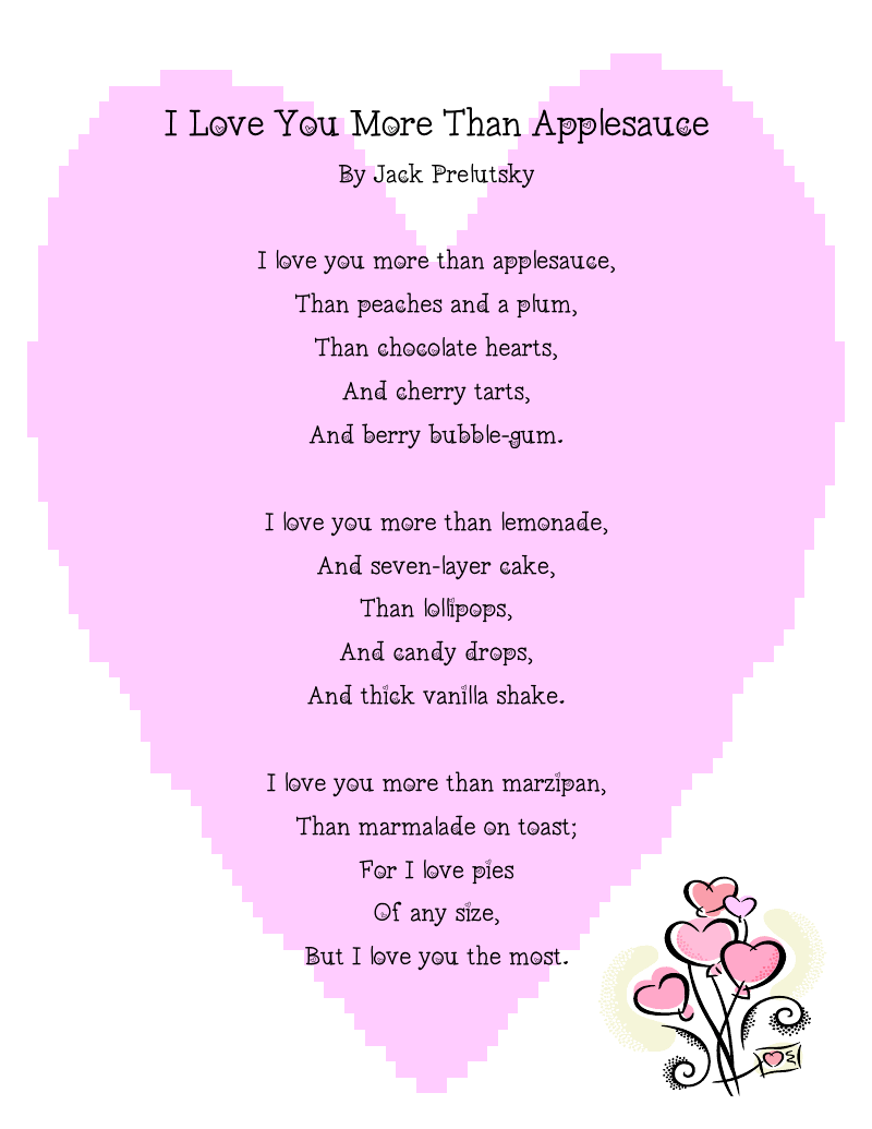 """adorable valentines day kids poems and songs:""""i love you more than, Ideas"""