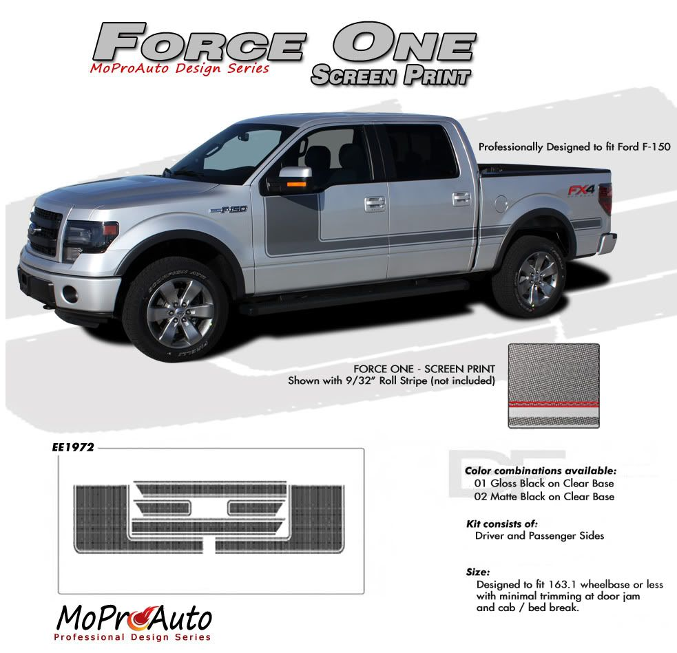 Force one screen print ford hockey stripe appearance style vinyl graphics and decals kit for 2009 2010 2011 2012 2013 2014 and 2015 2016 2017 models