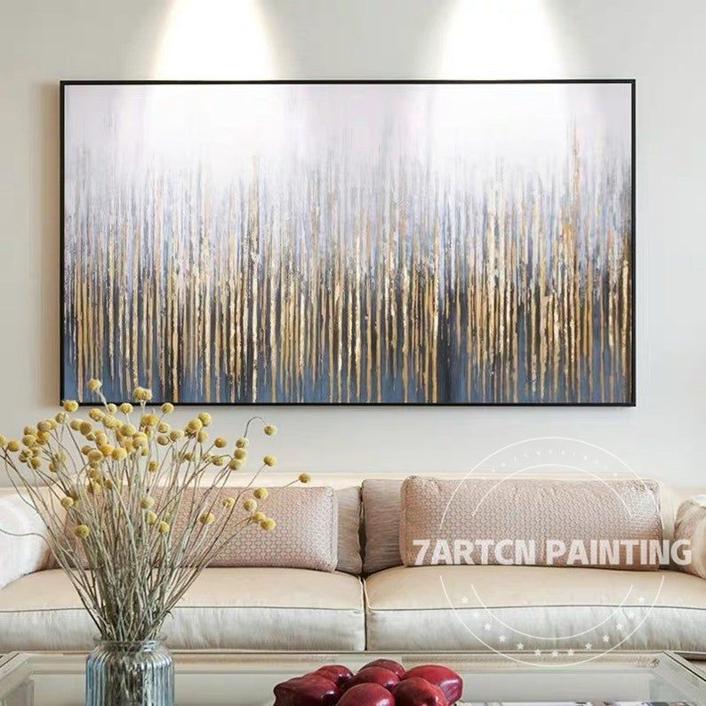 Gold leaf Art Modern Abstract Gray Tree forest pai