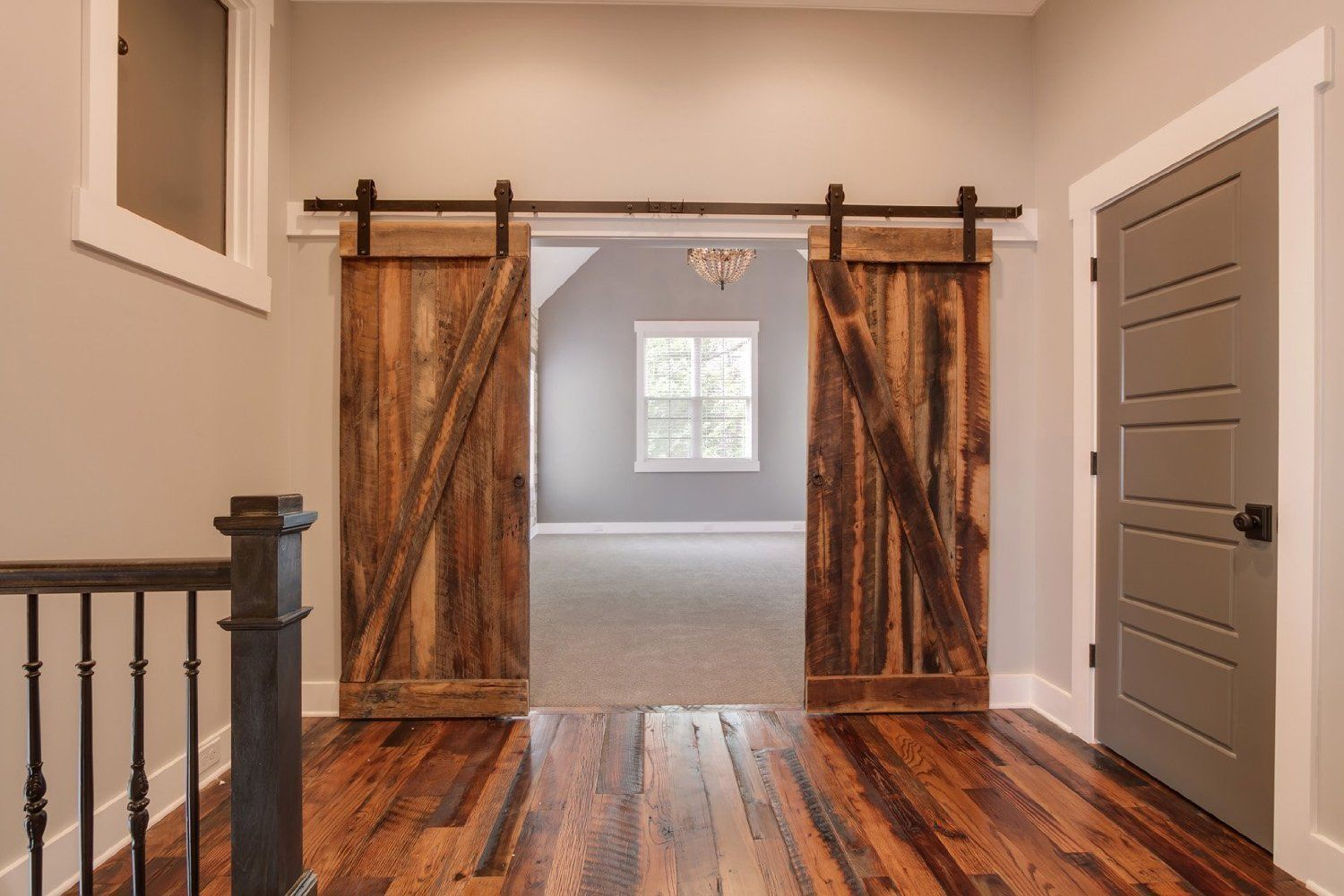 Details About Double Sliding Barn Door Hardware Rustic Black Barn Sliding Track 10 12 13ft Barn Door Designs Door Design Images Double Barn Doors