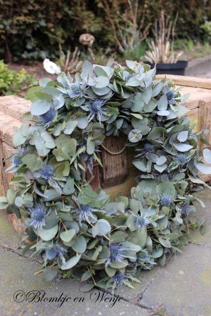 Krans eucalyptus en distel groen decoratie pinterest kransen herfst en kerst - Deur zolder bezoek met schaal ...