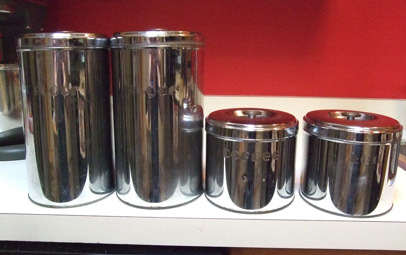 chrome kitchen canisters 1950 1960 lot of four labeled flour sugar