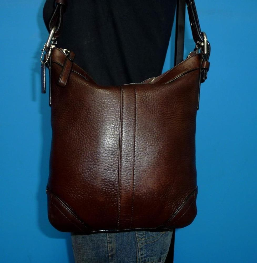 COACH Dark Brown Pebbled Leather Convertible Slim Duffle Crossbody Purse Bag #Coach #MessengerCrossBody