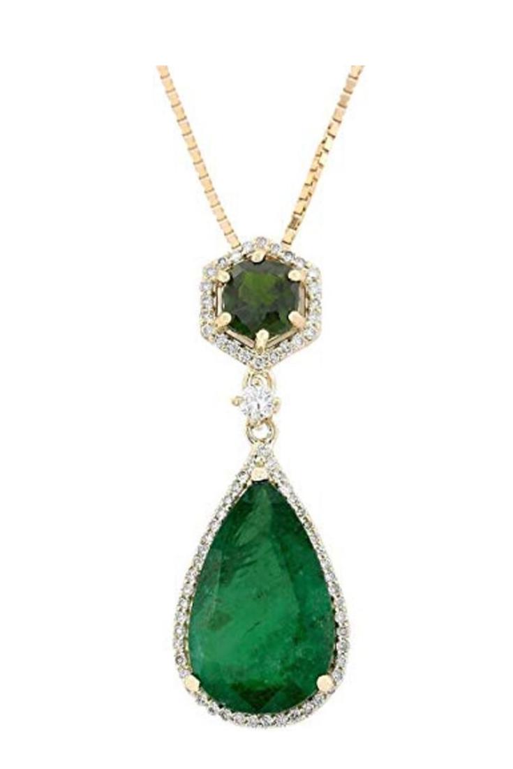 Price 4 205 00 10 Carat Natural Green Emerald Tsavorite Diamond F G Color Vs1 Vs2 Drop Pendant Necklace Womens Necklaces Women S Jewelry And Accessories