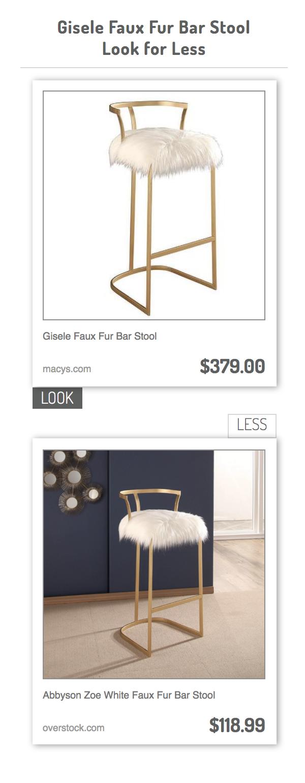 gisele faux fur bar stool vs abbyson zoe white faux fur