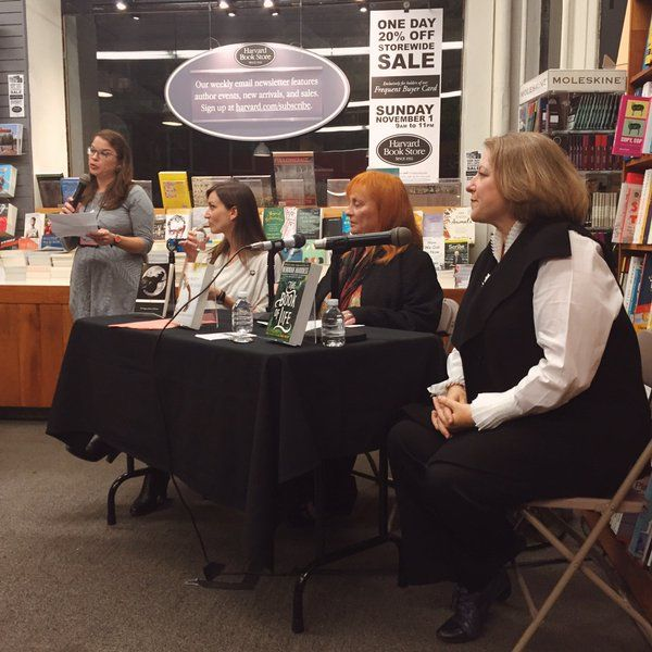 Katherine Howe, Brunonia Barry, and Deborah Harkness at Harvard Bookstore.