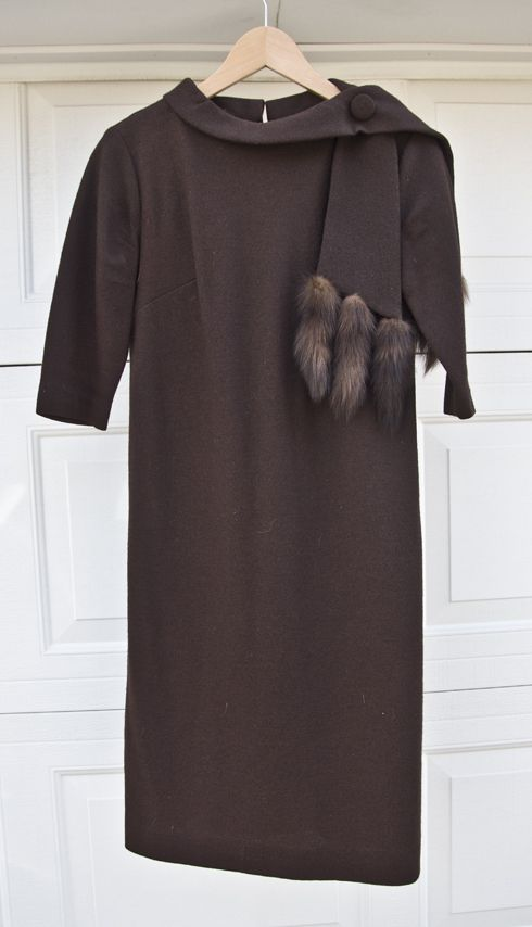1960s Wool Dress with Mink Tails