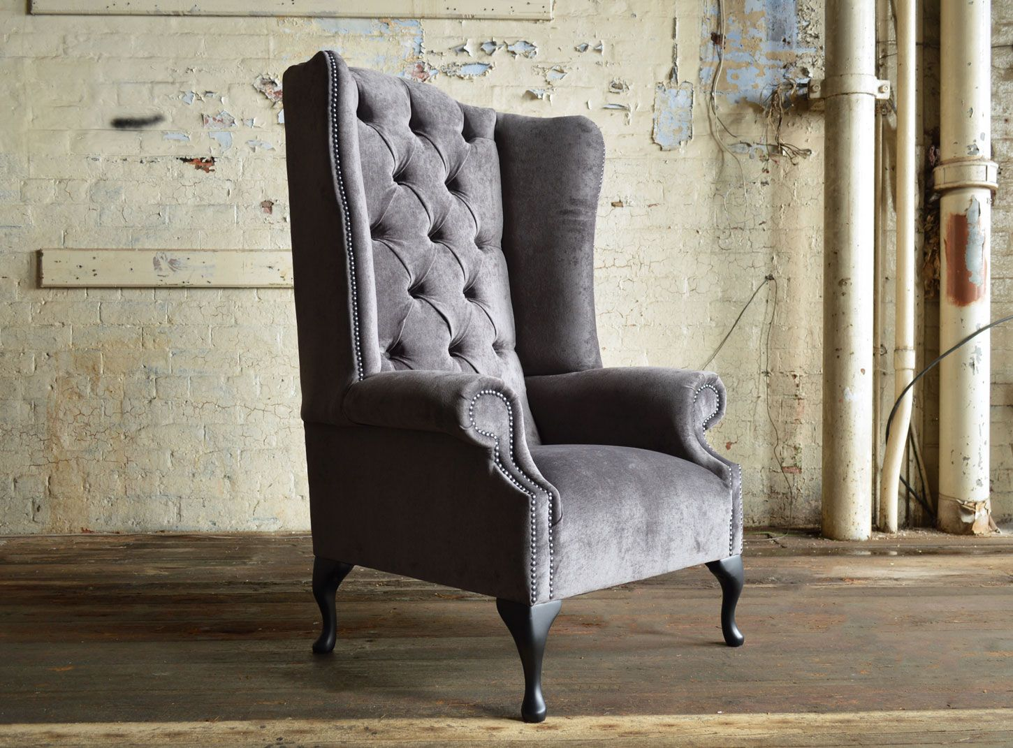 Seater queen anne high back wing sofa uk manufactured antique green - Modern British Handmade Aldwick Deep Buttoned Chesterfield Wing Back Chair Shown Slate Naples Velvet Chesterfield Sofasarm Chairshigh Chairsqueen