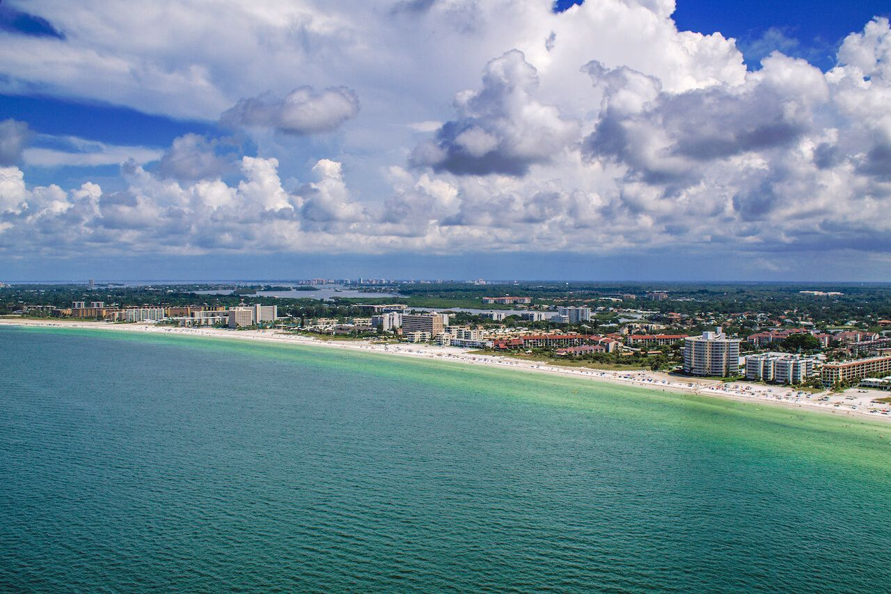 Aerial View Of Siesta Key White Sand Beach And Gulf Of Mexico Sarasota Florida Photo By Florida Beaches Vacation Perfect Beach Vacation Great Vacation Spots