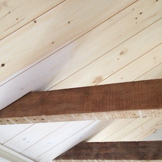 White Wash Gel Stain: Started Working On White Washing The Planked Ceiling In