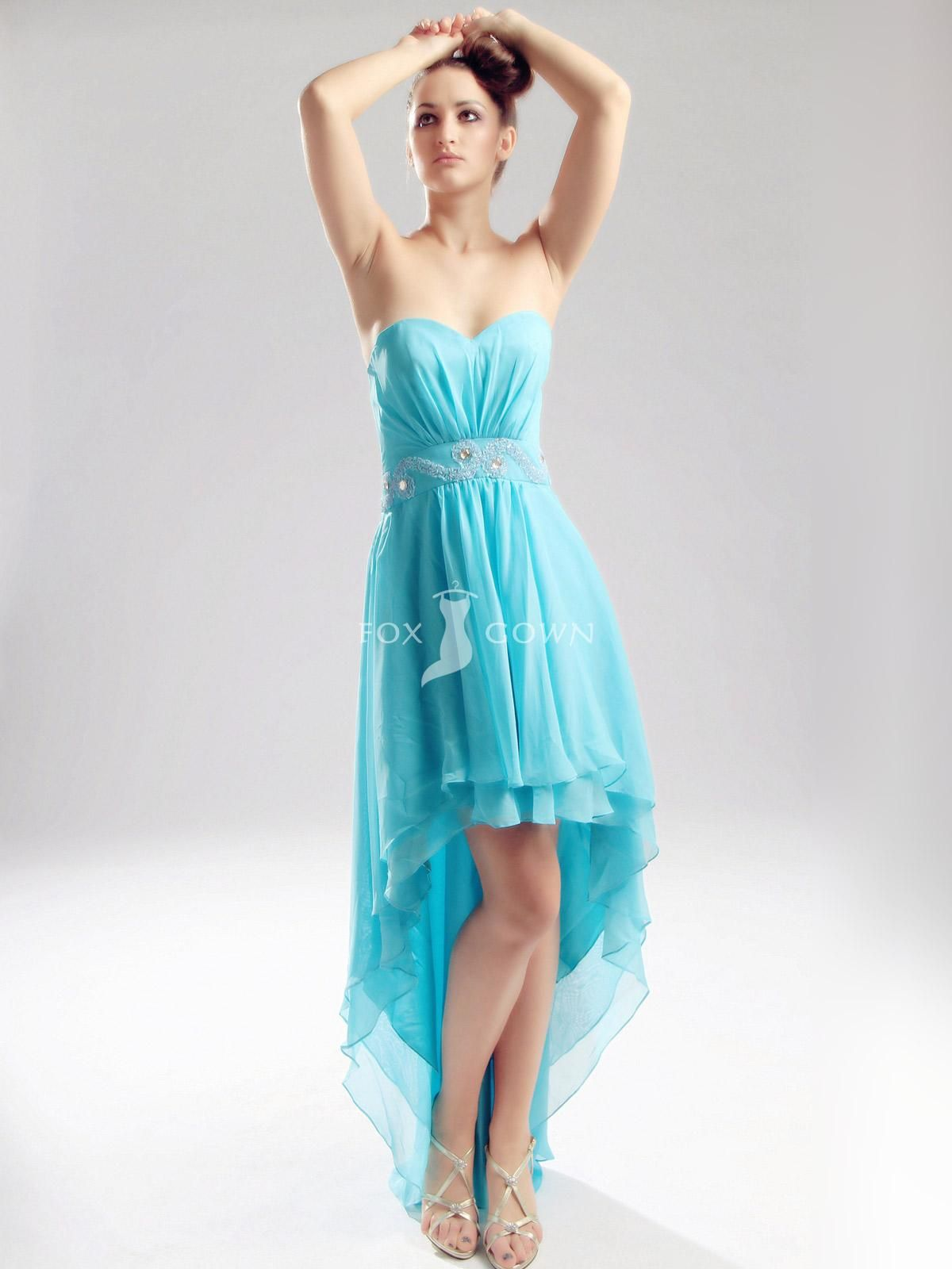 Ice Blue High-low Sweetheart Strapless Prom Dress | Hair | Pinterest ...