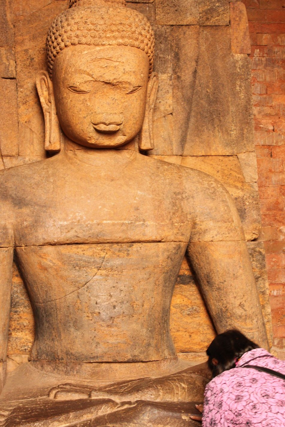 #Buddhism | #Buddha statue at the centre of a monastery in Ratnagiri, #Odhisa. The nose appears to have been roughly hewn out of the stone by vandals.