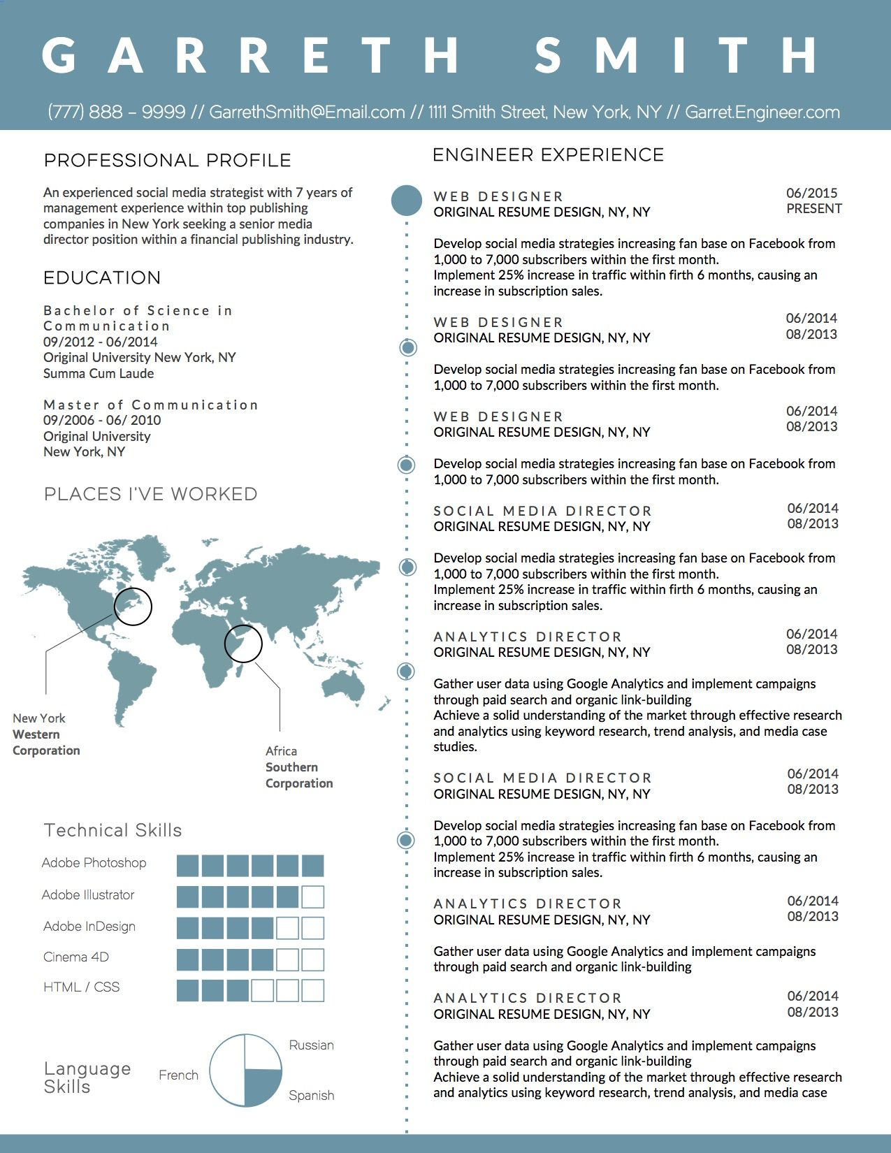 creative infographic clean business resume template for microsoft word  perfect for engineers