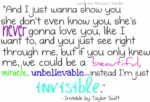 Invisible Taylor Swift Inspirational Song Lyrics Taylor Swift Lyrics Inspirational Songs