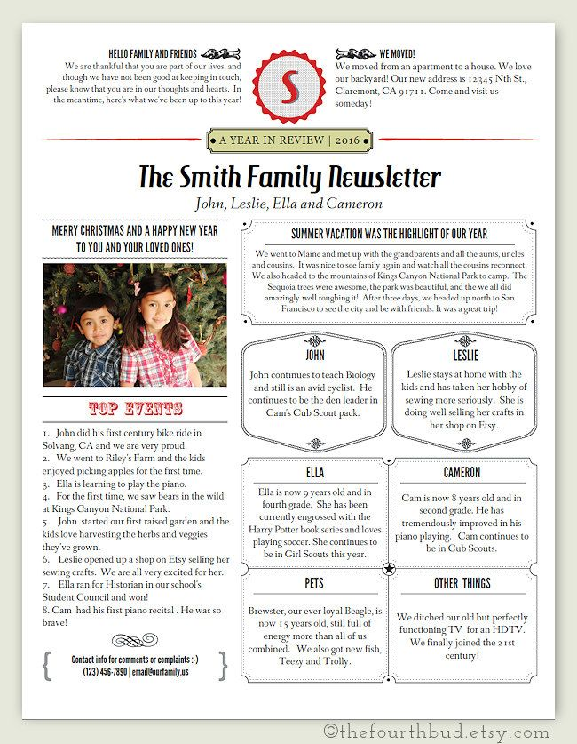 Christmas Newsletter Template In Pdf For Print Year In Etsy Christmas Letter Template Christmas Lettering Christmas Newsletter
