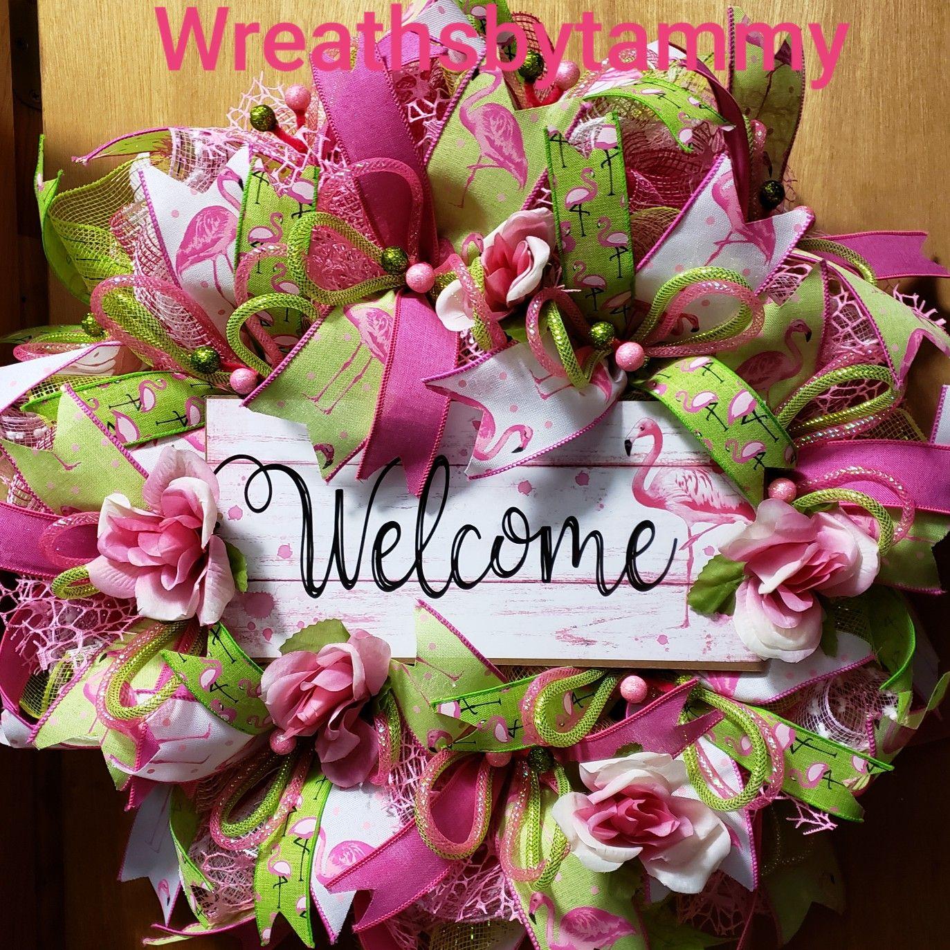 Pink Flamingo Welcome SpringSummer Wreath