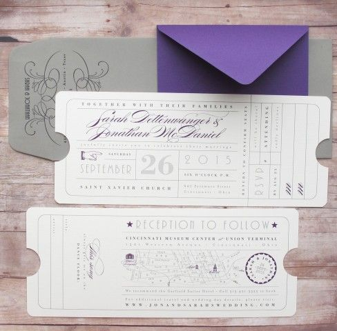 Ticket Save the Date Wedding Special Event Hollywood Inspired