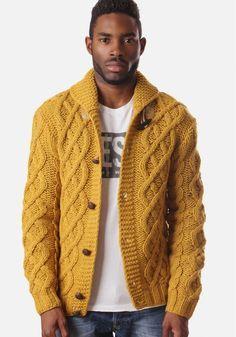 Diesel K-Lana Men's Button Up Chunky Knit Mustard ...