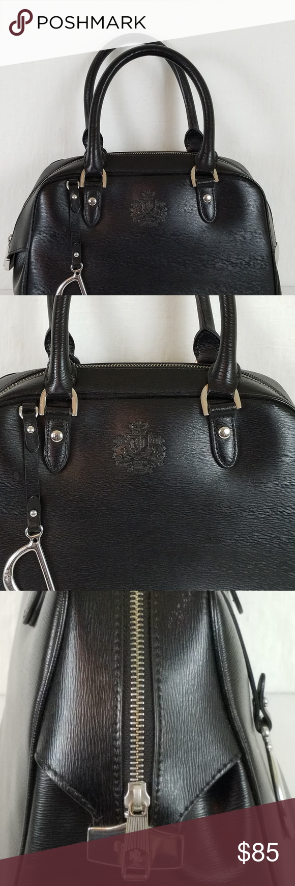 Ralph Lauren Black Leather Handbag In Women Beautiful Made Of A Sy