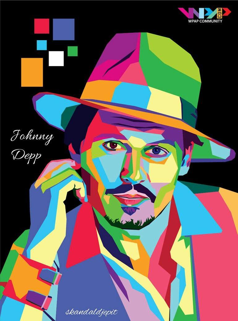 Color pop art a johnny depp beaut pinterest peinture g om trique peinture et dessin - Dessin johnny depp ...