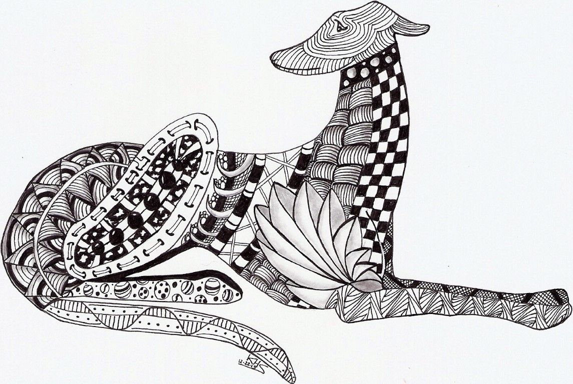 Whimsical Zentangle® Inspired design of a