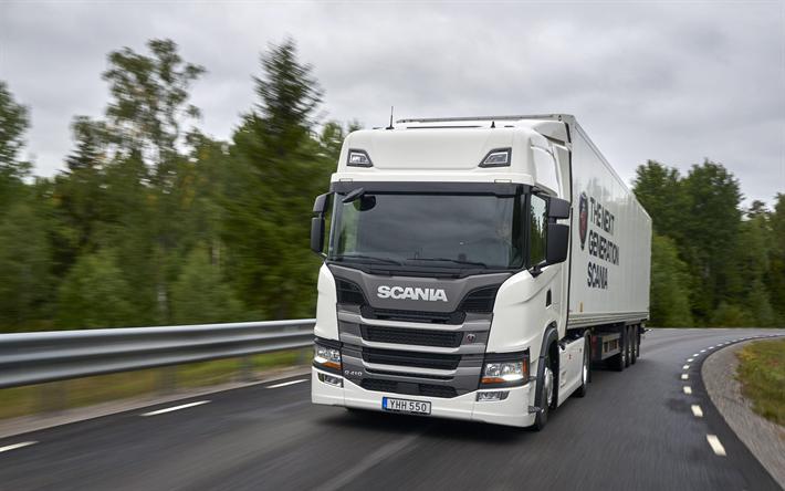 Download wallpapers Scania G410, 4k, road, Semi-trailer