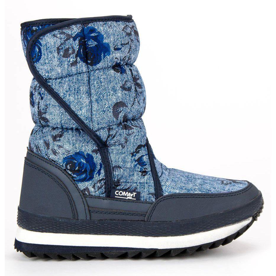 Sniegowce Na Zime Niebieskie Granatowe Boots Shoes Winter Boot